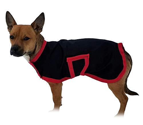 Horseware OSO1O exklusiver Hundemantel, schwarz/rot, Größe XXXS