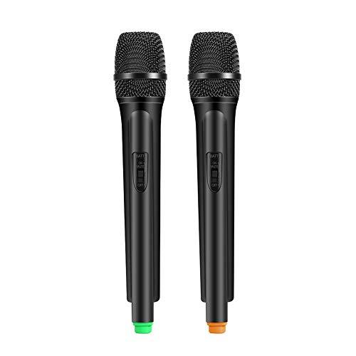Draadloos microfoonsysteem Dubbele handmicrofoons Dynamische microfoons met LCD-ontvangersysteem voor karaoke zang/spraak (EU-stekker)