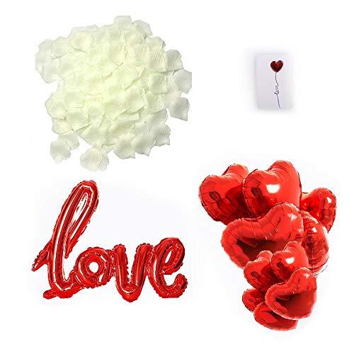 huaao Regalo di San Valentino Kit Petali di Rosa Artificiali Bianco, Palloncini a Forma di Cuore e Love Decorazioni Romantica per San Valentino, Anniversario Matrimonio e Fidanzamento