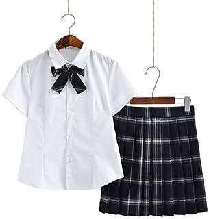 【SUNLIKE】JK 女子高生 制服セット ワイシャツ+リボン+チェックスカート バリエーション豊富 (ネイビー 半袖, M)