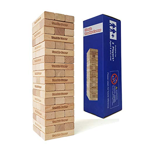 Classic 54 Pieces Tumble Tower Games-Family Fun Craft Games-Beech Stacking Blocks Toys