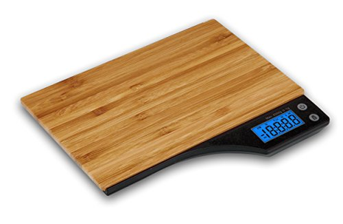 Kabalo Wooden Bamboo Kitchen Household Food Cooking Weighing Scale 5kg capacity 5000g/1g, Batteries Included! Flat Slim Design, Premier LCD Digital Electronic, with blue backlight by Kabalo