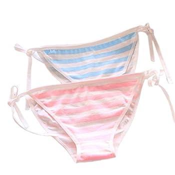 Cute Japanese Style Blue & pink Stripe Panties Bikini Cosplay Cotton Underwear Bandage Anime Free size Hot  C008 stripe