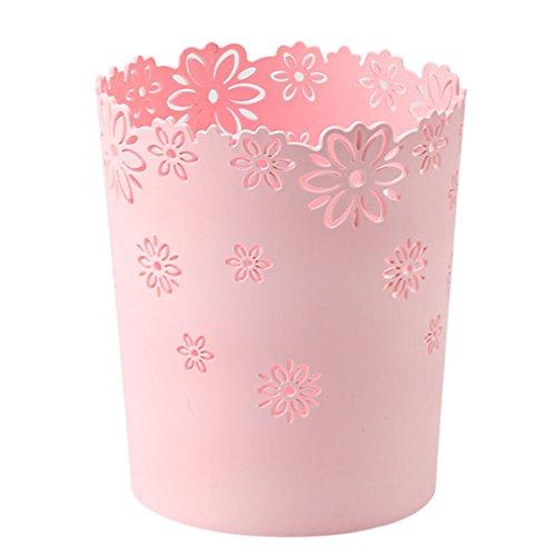 Vicoki Papierkorb, Abfalleimer aus Kunststoff für Büro, Küche oder Bad, Ø 19cm, H 22cm, 19×15.5×22cm, Rosa