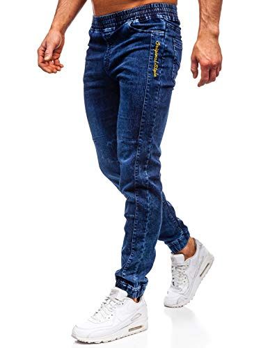 BOLF Herren-Jeans Jeans-Hose Herren-Hose Denim-Hose Freizeit-Hose Casual Style Jeans-Mode Club-wear Stretch-Hose Stretch-Jeans RED Fireball HY562 Dunkelblau L [7G7]