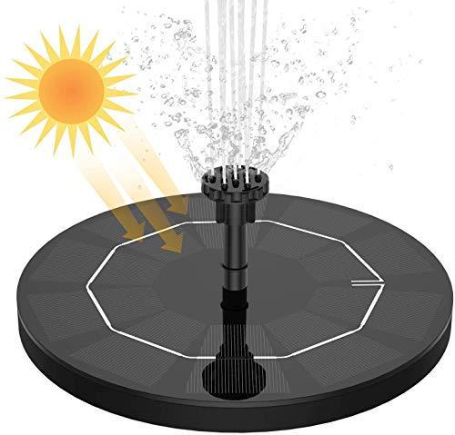 AISITIN Fontana Solare 3.5W Fontana Solare per Giardino con Pompa ad Acqua con Batteria da 1500 Ah, Piastra Galleggiante Circolare con 6 Ugelli per Ornamenti per Uccelli, Acquario, Stagno o Giardino