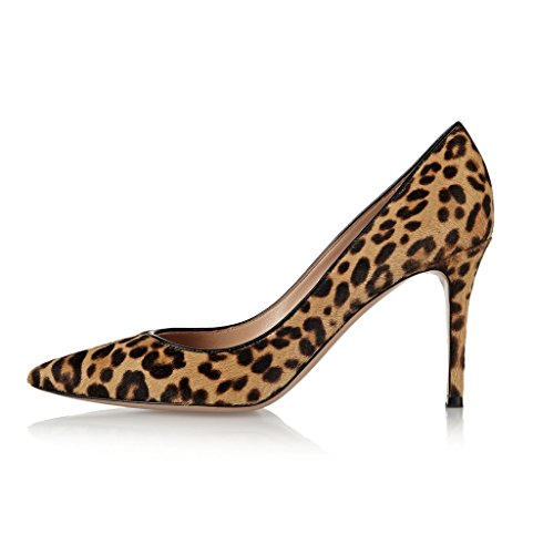 Kolnoo Damen Pointed Toe Leopard Pumps Spitz High Heels Kleid-Partei Pumps Print Größe EU38