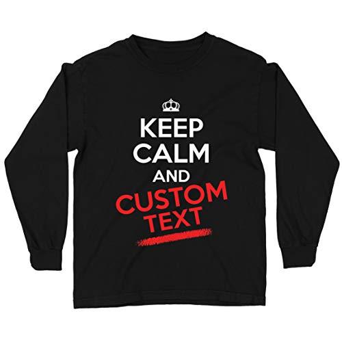 lepni.me Camiseta para Niños Personalizado Mantenga Calma Cualquier Nombre Texto Citas Regalo (5-6 Years Negro Multicolor)