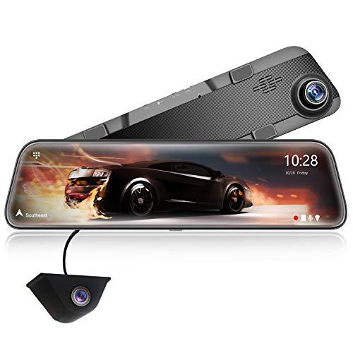 """WOLFBOX 2.5K Spiegel Dashcam 12\"""" Full HD Touchscreen Frontkamera und Rückfahrkamera, Weitwinkel Frontkamera und wasserdichte Rückfahrkamera, Super Nachtsicht,GPS, Parkmonitor,kostenlose 32 GB-Karte"""