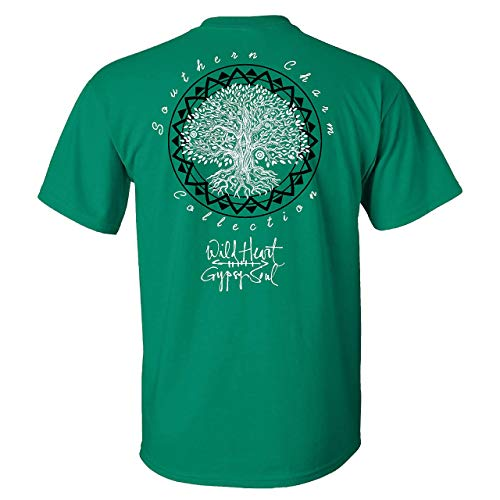 zg Southern Charm Wild Heart Gypsy Soul on a Green Shirt,Camicie e T-Shirt(Large)