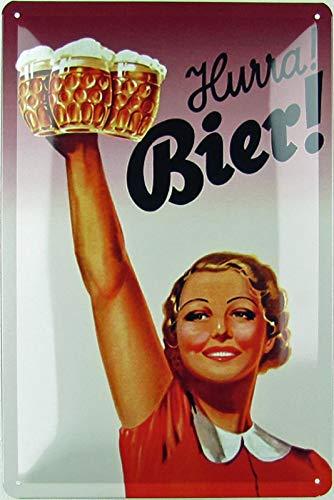 Generisch Blechschild 20x30 cm gewölbt Retro Hurra Bier Beer Geschenk Magnet-Metall-Schild mit Sprüchen Vintage lustige Türschilder Bier Nostalgie Schild Deko Bar-Schild Beer Motiv