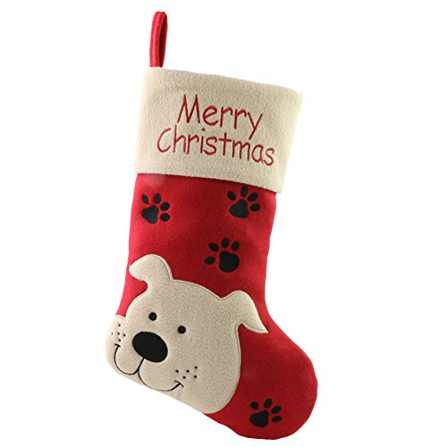 WEWILL 18'' Cat Felt Christmas Stockings Paws Embroidered for Pets Red Xmas Stocking Gift Bag Cuff Lovely Home Holiday Decoration