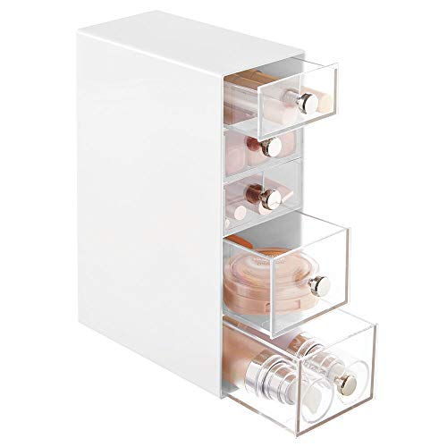 mDesign Make-up Organizer – Aufbewahrungsbox mit 5 Schubladen für Mascara, Puder, Nagellack und mehr – Schubladenbox für Badezimmer, Schminktisch oder Büro – weiß und durchsichtig