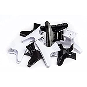 Beauty Shopping Diane Large butterfly clamps, black and white, 12 pack, D13