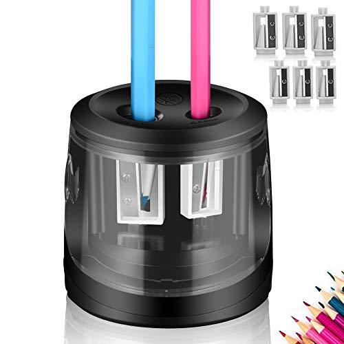 ARPDJK Sacapuntas eléctricos, USB y alimentación de batería, 6 cuchillas, 2 agujeros,...