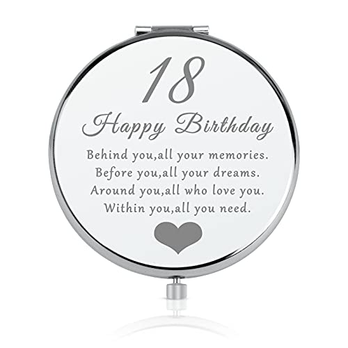 18th Birthday Gift for 18 Years Old Girls, Happy 18th Birthday Gift for Sister Niece Daughter Bestie, Folding Makeup Mirror for Her, Present Idea for Girls Turning 18 Years Old, 18th Bday Gift for Her