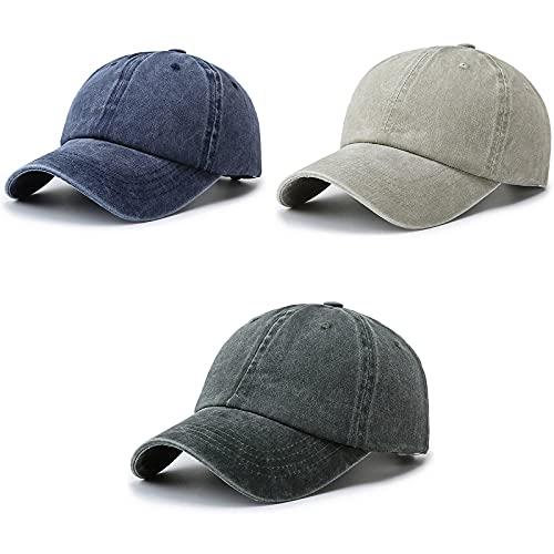 iSunday Gorra de béisbol de 3 piezas, estilo clásico, estilo clásico, estilo clásico, sombrero de deporte al aire libre, gorro de poliéster lavado, gorra de béisbol ajustable