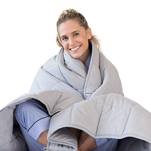 LUNA Weighted Blanket (15 lbs - 60x80 - Queen Size) - Organic Cooling Cotton & Premium Glass Beads - Designed in USA - Heavy Cool Weighted Blanket for Hot & Cold Sleepers - Kids or Adult - Grey