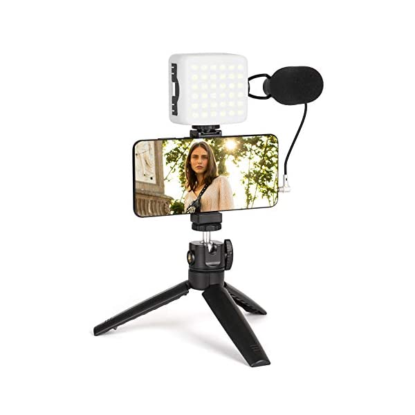 Smartphone Video Kit, FLASHOOT Smartphone Camera Video Microphone Kit with Light...
