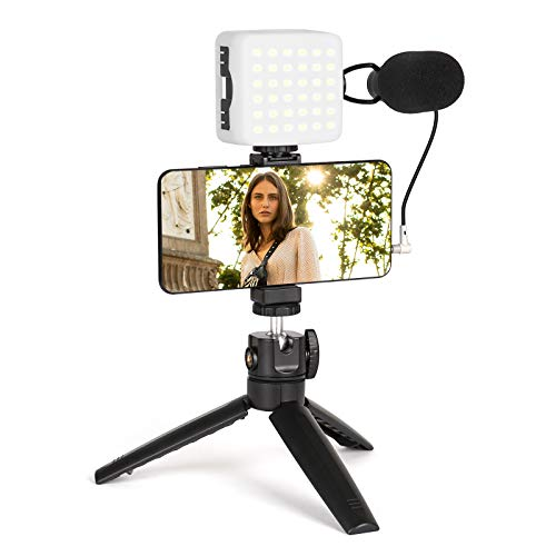 Smartphone Video Kit, FLASHOOT Smartphone Camera Video Microphone Kit with Light + Microphone + Tripod + Phone Holder for Vlogging/YouTube/TikTok/Filmmaker/Facebook/Live fit Smartphone/Camera