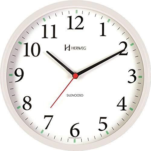 Relógio de Parede Silencioso Contínuo - Analógico - Branco - Herweg