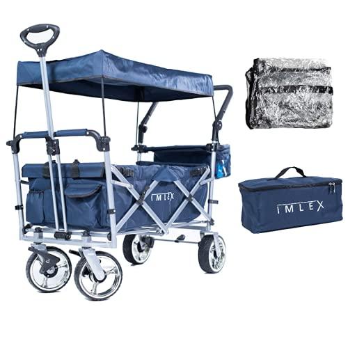 IMLEX Bollerwagen faltbar IM-4268 mit Regenschutz Mitternachtsblau/Grau