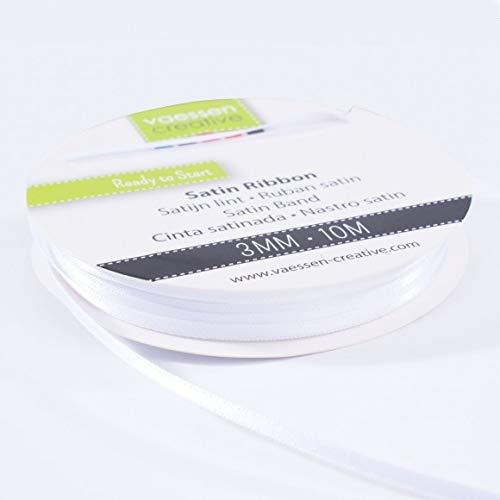 Vaessen Creative 301002-0003 Satinband Weiß, 3 mm x 10 Meter, Schleifenband, Dekoband, Geschenkband und Stoffband für Hochzeit, Taufe und Geburtstagsgeschenke, 3MM
