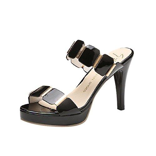 Chaussures Talon Femmes Grande Taille,GongzhuMM Ete Mode Femmes Hasp Transparent Talon épais Chaussures à Talons Hauts Sandales