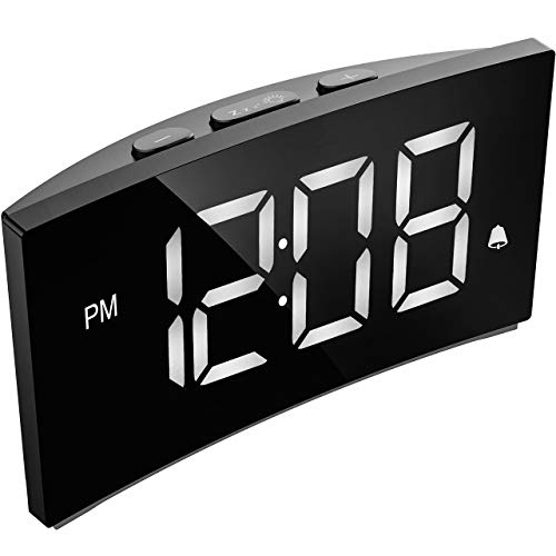 "PICTEK Digital Alarm Clock, 5"" Curved Dimmable LED Screen, Digital Clock for Kid Senior, Ultra-Clear White Large Number, 6 Brightness, Snooze, 12/24H, Alarm Clock for Bedroom Office (NO Adapter)"
