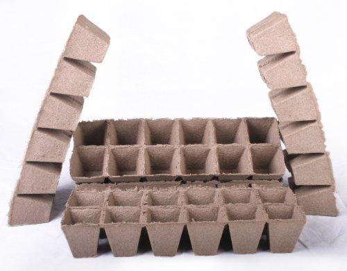 48 Nouvel carré Jiffy godets Taille 2,25 X 2,25 – Les Pots de bandes ~ 5,7 cm de côté sur le dessus et 5,7 cm de profondeur.