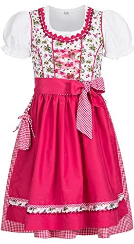 Nübler Nübler Kinderdirndl 3-TLG. Natalie Weiß-Pink, 80-122, Blumen-Muster, Rüschen, Miederherzchen, Glitzersteinchen Weiß Gr. 158