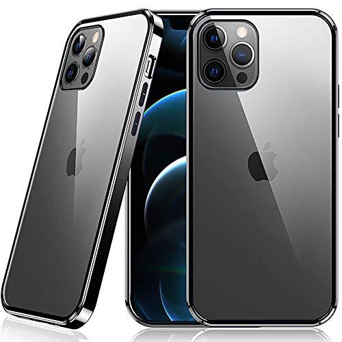 Supdeal Compatible con Funda para iPhone 12 Pro MAX, Carcasa Tiene a Prueba de Golpes Protección Transparente Función, Resistente Rasguños Soporte Carga Inalámbrica, Negro