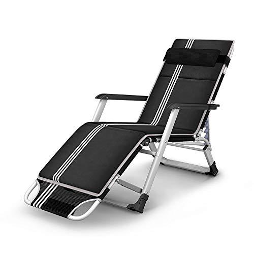 Klappstuhl, Loungesessel, Stufe 15 Set, multifunktionaler Balkon-Klappstuhl, Loungestuhl, Bürostuhl, Siesta Strandstuhl, Bettstuhl, tragbar, Schwarz