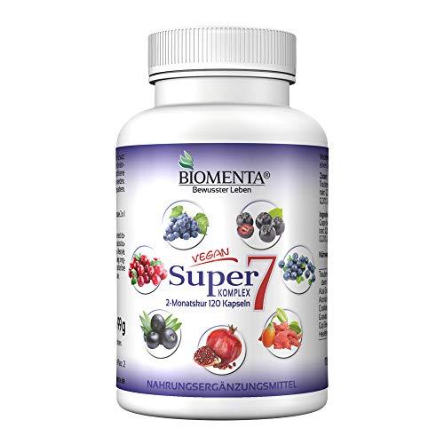 BIOMENTA Super7 – Früchte Mix Komplex – mit OPC Traubenkernextrakt + Cranberry + Goji Berries + Aronia Beeren + Granatapfel + Acai + Heidelbeeren - 2 Monatskur – vegan – 120 Multifrucht Kapseln