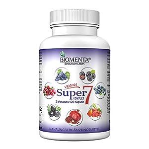 BIOMENTA Super7 - con extracto de semilla de uva OPC + arándano + bayas de goji + bayas de aronia + granada + acai + arándanos - vegano - 120 cápsulas multifrutas