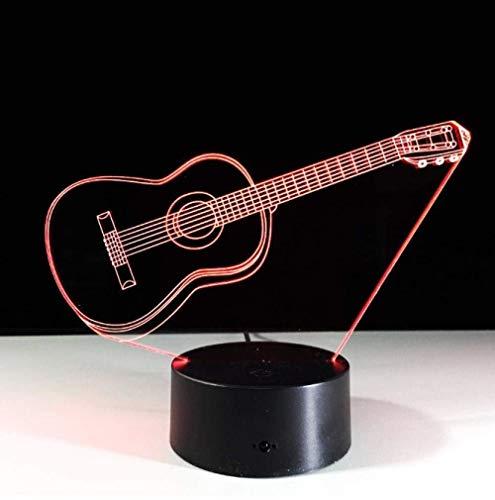 Gitaar met Sleutelhanger Acryl 3D Nachtlampje Baby 7 Kleur Chang Desklamp Muziekinstrumenten Home Decor Led 3D Lamp3D Geschenken Speelgoed Lampkeuken