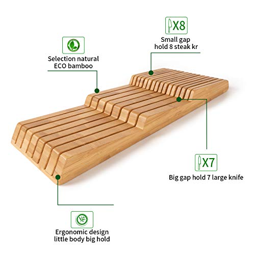 W WOODSUN Bamboo in Drawer Knife Block 15 Slots Knives Organizer Without Knives Premium Handwork Knife Storage for Kitchen Drawer