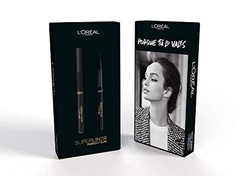 L Oréal Paris Delineador de Ojos Líquido y Con Trazado Fino, Eyeliner Superliner Perfect Slim, Negro intenso, pack 2 unidades, 2 x 12 ml