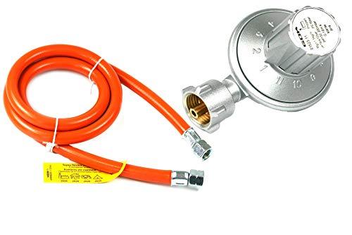 Rabenburg Niederdruckregler + Gasschlauch 50-200mbar verstellbar - Druckregler für Gasflasche - Gasdruckminderer für Grills, Heizstrahler etc. Umrüstset