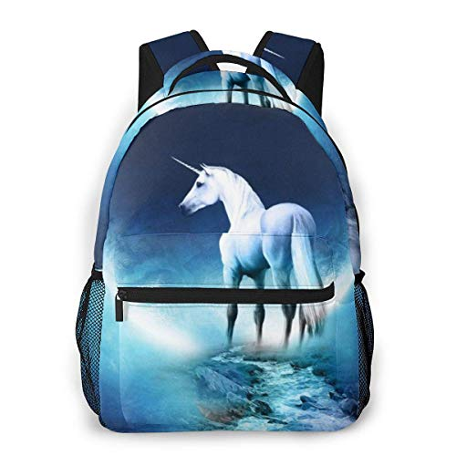 Lawenp White Horse and Moon Kids School Backpack Lightweight Laptop Bag for Boys Students