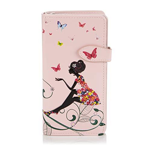 Shagwear Junge-Damen Geldbörse, Large Purse Designs: (Schmetterling Oase Rosa/Butterfly Oasis)