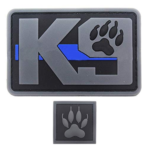 Military Ba 2pcsK9 Dog Paw Patch PVC Rubber Morale Tactical Police Law Enforcement Support - Canine Thin Blue Line Patch Hook Fastener Backing by uuKen Tactical Gear