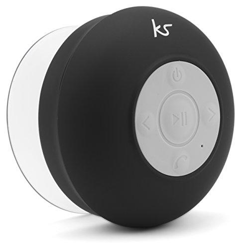 Kitsound Rinse Altoparlante Portatile con Ventosa, Impermeabile, Bluetooth, Ricaricabile, con Funzionalità Vivavoce, per iPhone/Ipad/Android/Tablet/Smartphone - Nero