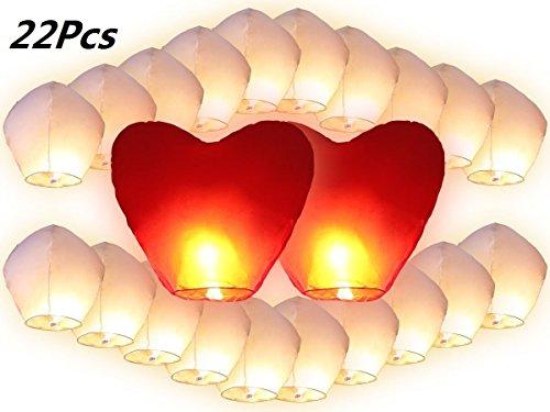 Lanternes Volantes Chinoises, JRing Lot de 22 Lanternes Volantes Blanches Inclus 2 Coeurs Rouges Géants Pour Fêtes , Moments Romantiques et Magiques