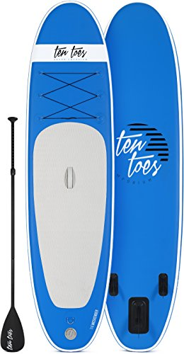 Retrospec Weekender 10' Inflatable Stand Up Paddleboard Bundle w/ paddle board carrying case, aluminum paddle, removable nylon fins, manual pump & cell phone case, Blue & White