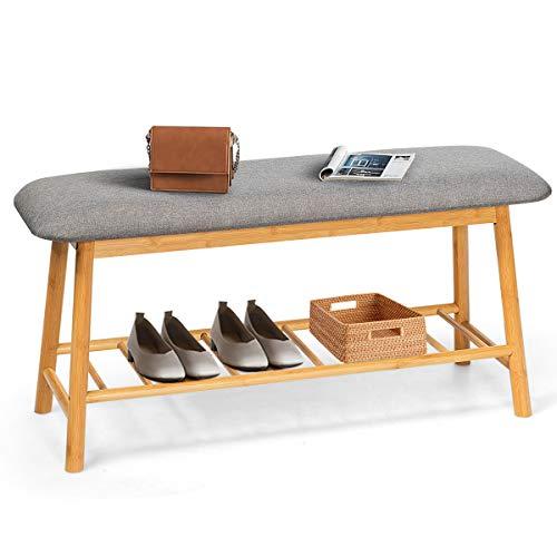 COSTWAY Schuhbank mit Sitzkissen, 2 Ebenen Schuhregal, Sitzbank aus Bambus, Schuhschrank, Polsterbank für den Eingangsbereich (M)