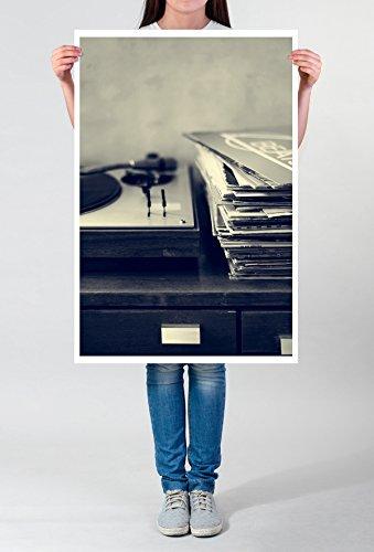 Best for home Artprints - artistieke fotografie - platenspeler en vinyl fotodruk in haarscherpe kwaliteit LEINWANDBILD gespannt 90x60cm