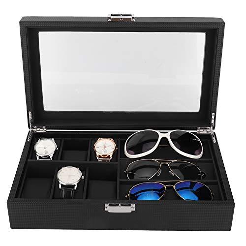 Horloge- / brillenkist voor 3 brillen en 6 horloges, brillenhorloges, vitrine, zonnebrillenkoker 35,5 x 21,2 x 9 cm gemaakt van hout en PU, brillenopslag voor horloges, presentatie