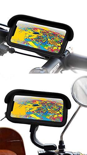 Mobiele telefoonhouder voor motorfiets, fiets, beschermhoes met niet-verblindend vizier en veiligheidshaken, dubbele bevestiging aan het stuur en achteruitkijkspiegel, geschikt voor smartphones tot 6,5 inch scherm.