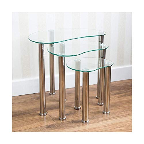 MissZZ Small Glass Side Table Set of 2 Black End Table for Living Room Bedroom Reception Room (2 of small side table)